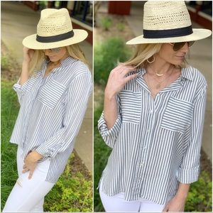 Gray striped button up